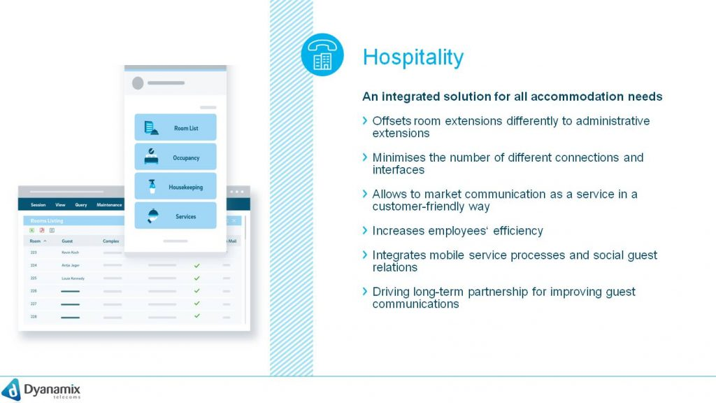 Hospitality is the solution for efficient communication. It accelerates digitalization for accommodation businesses of all kind and helps to efficiently manage resources and costs.hospitality is the cloud-generated answer for all communication requirements in the hospitality branch. All common known PMS can be linked to hospitality hospitality helps to efficiently manage and use resources at less costs. Hospitality is of use for all kinds of accommodation businesses Hospitality meets all needs of operational cost efficiency Hospitality includes multilingual wake-up calls and flat guest rate tables. The hospitality solution is the connection to all front office systems and provides customized telephone services in all kinds of settings and surroundings. Other services are: package billing for guests, voicemail for guests and employees, eight languages, call-through functionality, check-in & check-out with deletion of guest data, prepaid, billing, room state forwarding at the room and many more.