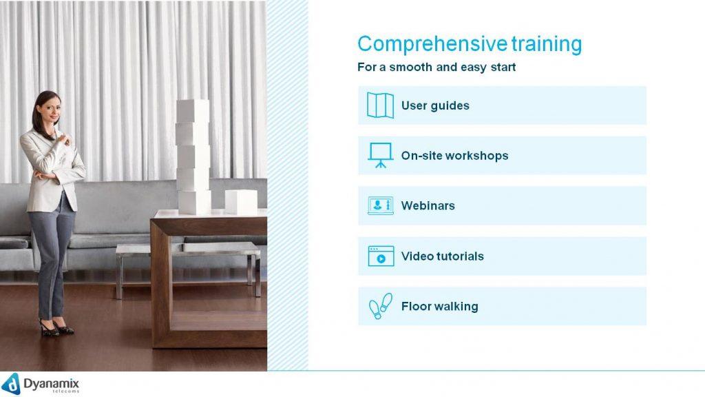 Comprehensive training User guides On-site workshops Webinars Video tutorials Floor walking